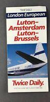 LONDON EUROPEAN AIRWAYS AIRLINE TIMETABLE SUMMER 1985 VICKERS VISCOUNT