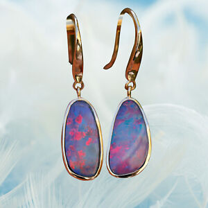 Gorgeous Red Blue 3.35cts Australia Doublet Opal Earrings 9K Gold 11.5cts 96