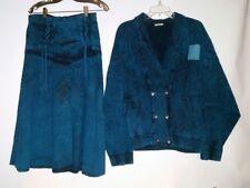 TEMA Skirt (M)elastic waist  Jacket size Large double breasted Green/ Blue Wash