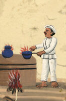 Company School 19th-century Indian Mica Painting Gouache –Cook with Flaming Pots