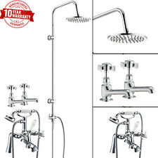 Traditional Bath Shower Mixer With 3 Way Round Rigid Riser Kit & Basin Taps Pair