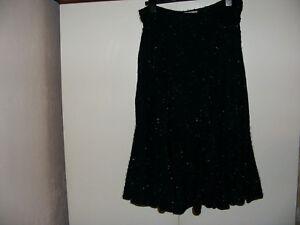 "Bassinni Ladies Size 18  Black Sparkly Glitter Skirt Waist 32"" length 30"" Inches"