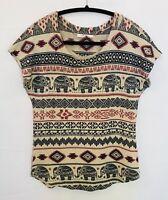 Gaze USA Womens Size Medium Elephant Tribal Short Sleeve Scoop Neck Blouse Shirt