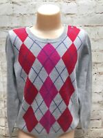 Crew Cuts Big Girls Size 10 XXL Argyle Sweater 100% Cotton Pink/Red /Gray GUC