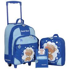 Kindertrolley 3er SET Keanu Sweet Bear Trolley Rucksack Brustbeutel Blau