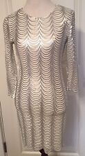 Asos TFNC LONDON White Hot DRESS Silver Sequins Sexy Stretch Bodycon Sheath Sz S