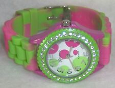 LIGHTLY PREOWNED GENEVA FACE PINK & GREEN JELLY BUCKLE BAND WATCH