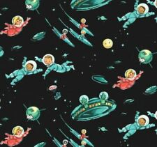 MM125 Atomic Era Rocket Space Kids Little Green Men Alien Cotton Quilt Fabric