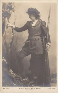 """miss  MARY  ANDERSON as """" rosalind """"-AMERICAN theatre/silent STAR 1900s postcard"""