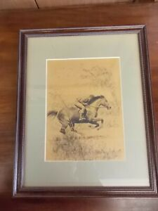 C.W. Anderson Boy and Horse Drawing, Framed, 1950's