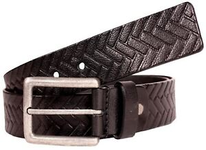 Mens 40mm Black Brick Textured Brass Antique Pin Buckle Premium Leather Belts