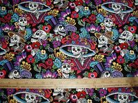 Cotton Fabric Alexander Henry Catrina Chiquita skulls skeletons on black BTY