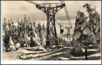 Oberwiesenthal Sachsen DDR Postkarte ~1963 Partie an der Schwebebahn gelaufen
