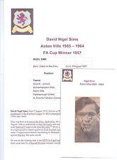 Nigel sims Aston Villa 1955-1964 original main signé photo découpe