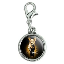 Superhero Dog Shadow Antiqued Bracelet Charm with Lobster Clasp