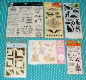 6 Packages Clear Stamp Lot Cattitude Holiday Frolic Halloween Simple Thoughts