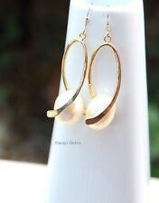 Creamy Shell Pearl Earrings  Gold filled ear hooks Handmade New