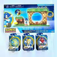 """🔥 Sonic the Hedgehog Green Hill Zone Playset w/ 2.5"""" Metal Tails Chao Knuckles"""