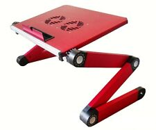 Red Extra Wide Adjustable Notebook Stand Table Tray On Bed Cooling Pad Cooler