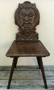 Antique French black forest Alsacian chair early 1900's woodwork god poseidon