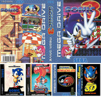 - Sonic 1 2 3 3D Mega drive Replacement Box Art Sleeves Insert Case only
