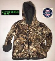 ZooFleece Shadow Grass Camouflage Kids Waterfowl Reversible Jacket Hoodie Coat