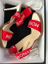 Monse Women Shoes Size 38.5 NIB Red Logo Sandals Heels