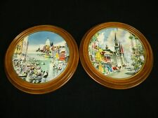 Pair Royal Doulton New Orleans French Quarter & Grand Canal Venice Plates 1976