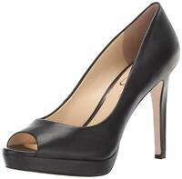 Jessica Simpson Womens DALYN Leather Peep Toe Classic Pumps, Black, Size 8.5 ozv