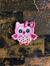 "1 Pink Baby Owl Woodland Iron On Sew On Patch 2.5""L x 2.75"" W Same Day Ship Kids"
