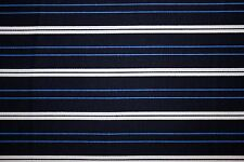 Blue Black White Stripe Print #3 Cotton Lycra Twill Apparel Sewing Fabric BTY