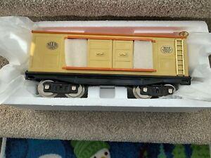 MTH Tinplate Traditions Std Gauge # 214 Box Car - Cream/Orange w/Brass # 10-202