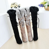 Fashion New Womens Lace Up Knee High Boots Fur Trim Top High Heel Pull On Shoes