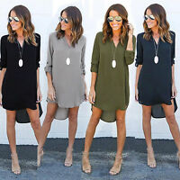 Women's Chiffon V Neck Blouse Long Sleeve T Shirt Casual Loose Mini Dress Tops