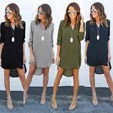 Womens Chiffon V Neck Shirt Blouse Long Sleeve Casual T-Shirt Mini Dress Tops