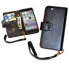 iPhone 6 (4.7 Inch) Premium PU Leather Wallet Case - Black with Floral Interior