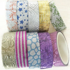10pcs 1.5cmx3m Glitter Pattern Tape Adhesive Sticker Decor Useful Crafts
