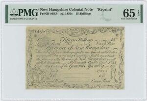 1755/6 New Hampshire 15 Shilling NH-96 PMG GEM65 EPQ c. 1850 Cohen Reprint