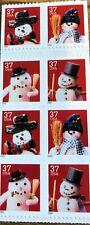 Sc# 3691d 37 Cent Christmas Snowmen (2002) MNH Booklet Blk of 8 Stamps