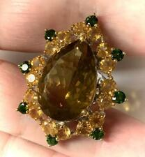 Imperial Bliss' Pear & Round Cut 15.85ct Citrine Chrome Diopside Ring 925 Silver