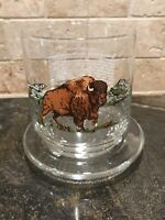 Vintage American Wildlife Bison Drinking Glass Sunoco Oil Serv. Station & Stand!