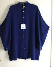 NWT Eskandar -Sz 2 Most Exquisite LAPIS 100% Silk A-Line Tunic Blouse Shirt Top