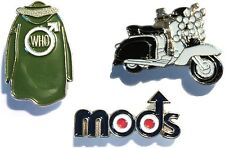 MODS Scooterist Badge Set Scooter, The Who Quadrophenia Parka & Mod Roundel