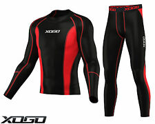 XOGO New Mens Compression Armour Base layer Top Skin Fit Shirt + Leggings set