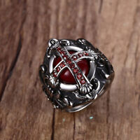 Mens Vintage Cross Ring Blood Red Zircon Stone Stainless Steel Punk Male Jewelry