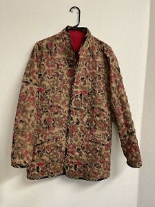 Koos of Course Jacket Reversible Red Floral Lightweight Quilted Blazer Sz M