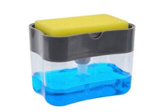 Kitchen Detergent Dishwasher Liquid Press Dispenser Box with Sponge Cleaning