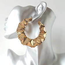 Gorgeous BIG shiny gold tone faceted creole  - pin hoop earrings *Top quality*