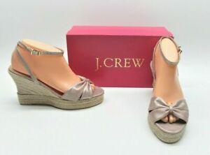 J. Crew Galle Rose Metallic Suede Espadrilles Wedge Sandals Heels Shoes Womens 9