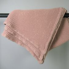 """MADE.com Chunky Waffle Knit Throw Blanket 100% Cotton Dusty Rose Pink 60"""" x 70"""""""